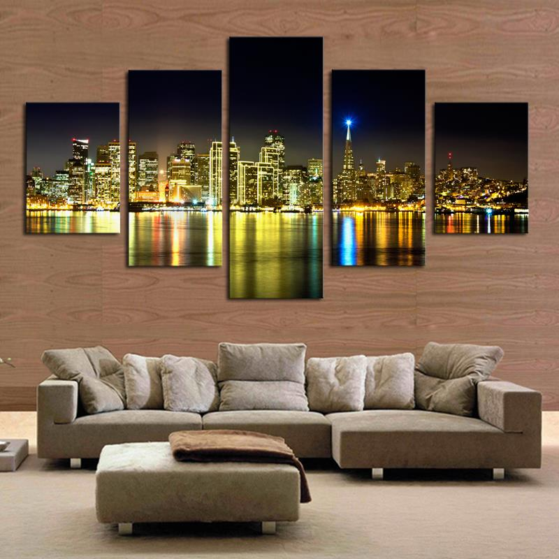 5 Piece The City Night View Modern Home Wall Hd Decor Oil Spray Canvas Picture Art