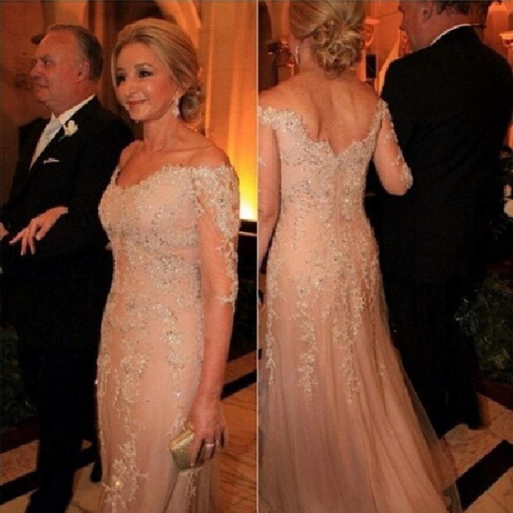 Champagne mère de la mariée robes avec manches sirène épaules dénudées dentelle mère de marié robe pour soirée élégante