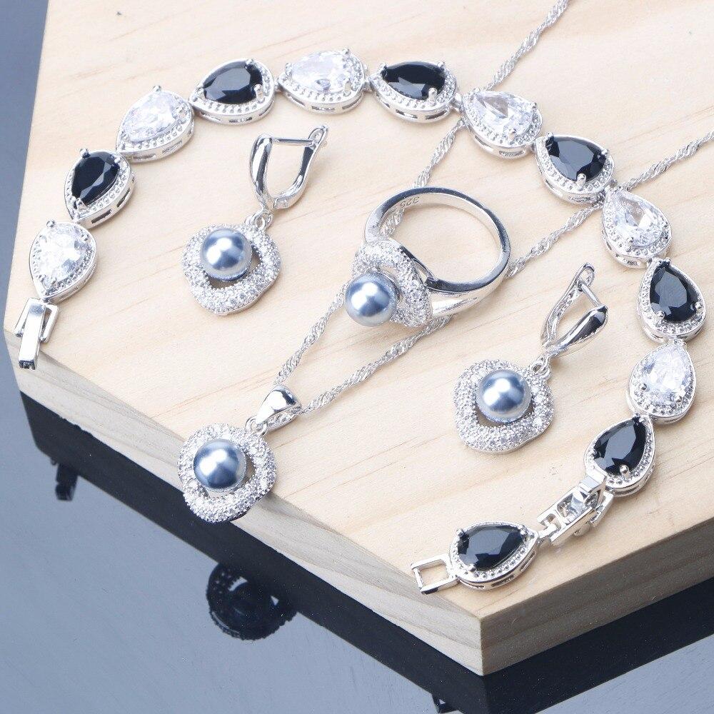 Gray Earrings Bracelet Jewelry Set Silver