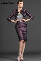 Wedding Party Dress Short Mother Of The Groom Dresses Strapless Purple and Gray Taffeta Mother of the Bride Dress with Jacket