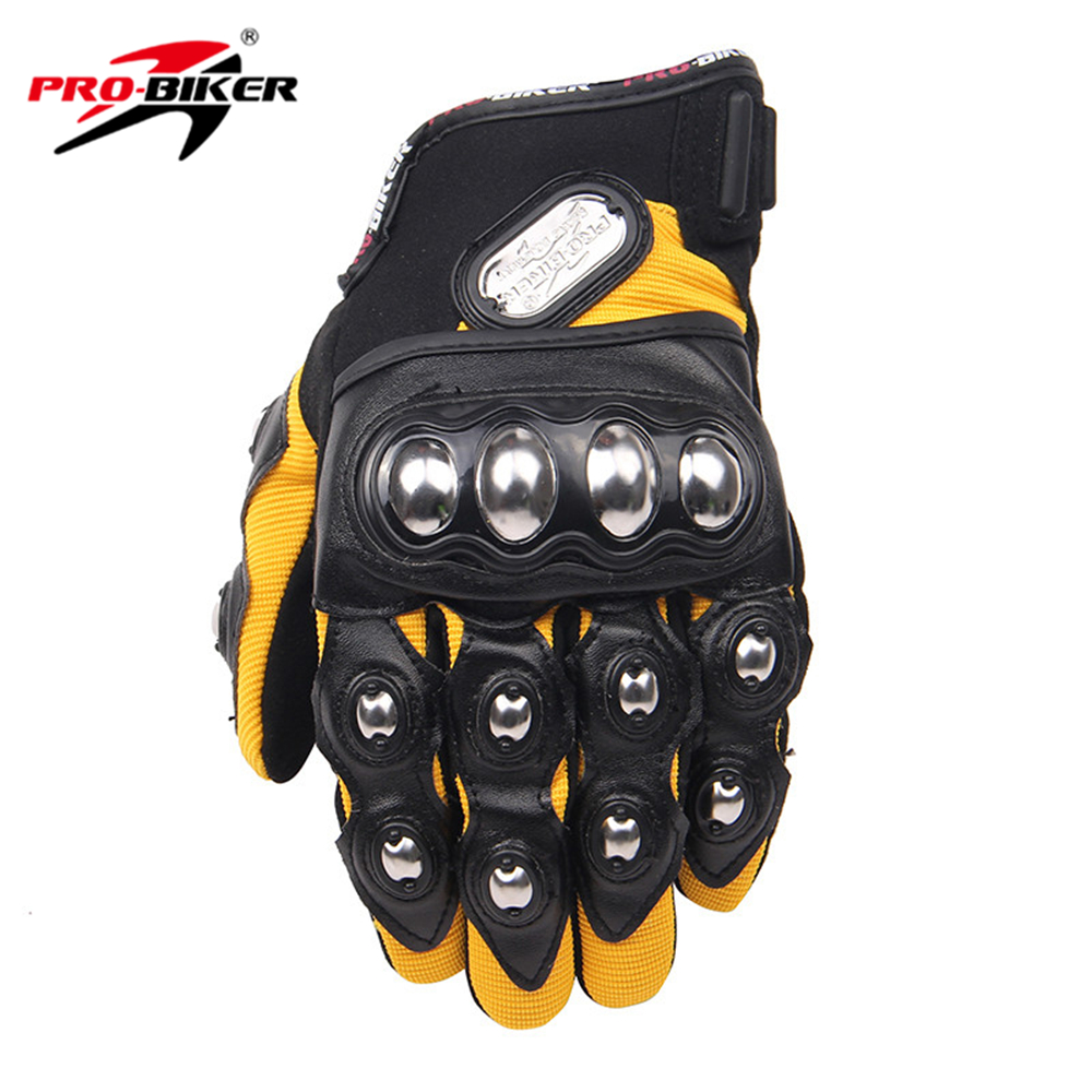 PRO-BIKER Motorcycle Riding Gloves Men Women Breathable Full Finger Gloves Motorcycle Cycling Long Finger Gloves Yellow M L XL