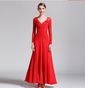 Red spanish dress Standard ballroom dancing clothes Competition standard dance Flamenco dance costumes