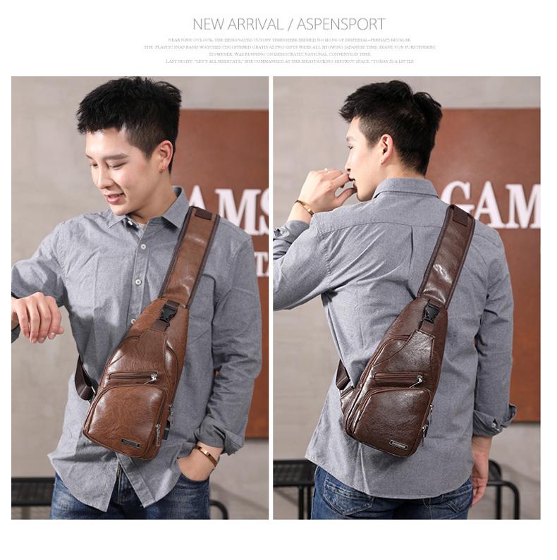 Men's Crossbody Bags Men's USB Chest Bag Designer Messenger bag Leather Shoulder Bags Diagonal Package 2019 new Back Pack Travel 12
