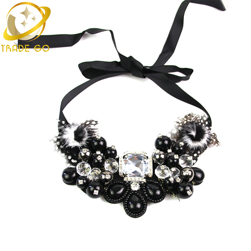 2015 Unique Charm Water Drop Beads Statement Necklace & Pendants New Brand Arrival Women Noble Crystal Cluster Fashion Necklace