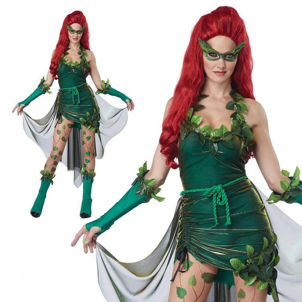 poison ivy cosplay adultos vestido de la muchacha lillian pamela isley cos traje de duende verde