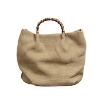 Linen Cloth Knitting Woman Canvas Bag Portable Shopping Bag Bamboo Handle Environmental Handbags Summer Tote Bag