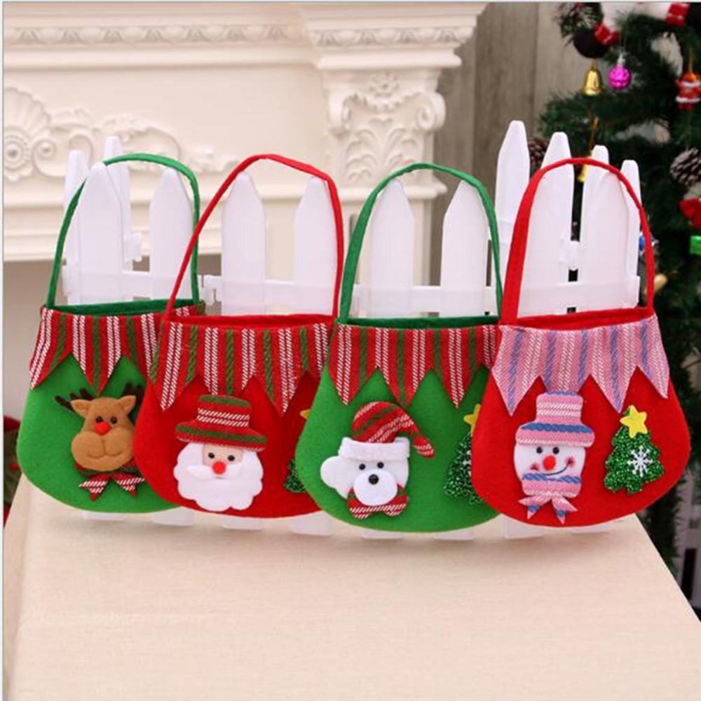 Cute Christmas Gift Bags Totes Large Reusable Cloth candy ...