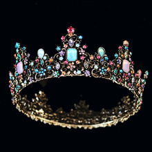 Baroque Colorful Queen Crown Beautiful Jelly Crystal  Wedding Tiara for Women Costume Rhinestone Stone Bridal Hair Accessories