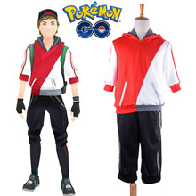 Pocket Monster Pokemon GO Male Player Avatar Trainer Cosplay Costume Red Team Uniform for Boy Sports Suit Hoodie Sweat Pants