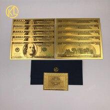 10 sztuk/partia stany zjednoczone 100 dolar złoto foliowane Platsic banknot rachunek fałszywe pieniądze stany zjednoczone ameryki z certyfikatem i koperty