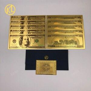 Lot de 10 billets états-unis 100 Dollar or | Billet en plaqué or, faux billets des états-unis et de l'amérique, avec certificat et enveloppe