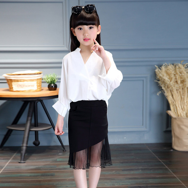 Girls Summer Korean Female's New Children's Baby Solid Tail Skirt Mesh Black