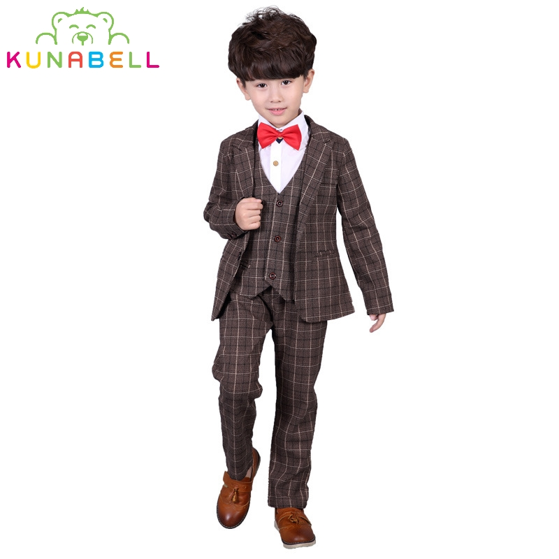 Children Formal Brand Suit Set Baby Boys Suits Kids Blazer Wedding Birthday Party Clothes Set Jackets Vest Pants 3pcs B026 boys wedding clothes kids tuxedo suit for baby boy blazer plaid vest shirt pants toddler formal party set children clothing b038
