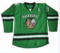 Límite barato #9 Jonathan Toews Dakota del Norte que lucha Sioux hockey Jersey doble cosido S-XXXL envío libre