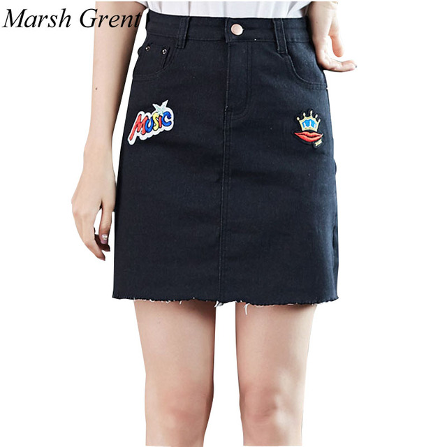 6aeacfc87c6b98 Zomer vrouwen jeans denim rok cartoon print plus size vintage blauw zwart  korte mini rokken vrouwen