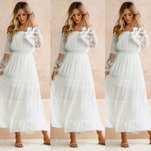 Womens Lace Bohemian Dress Elegant Off Shoulder Holiday Strapless Long Sleeve Pure White