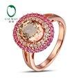 14 К Розовое Золото 1.82CT Овальным вырезом Morganite 0.62ct Алмаз и Сапфир Обручальное Кольцо Бесплатная доставка
