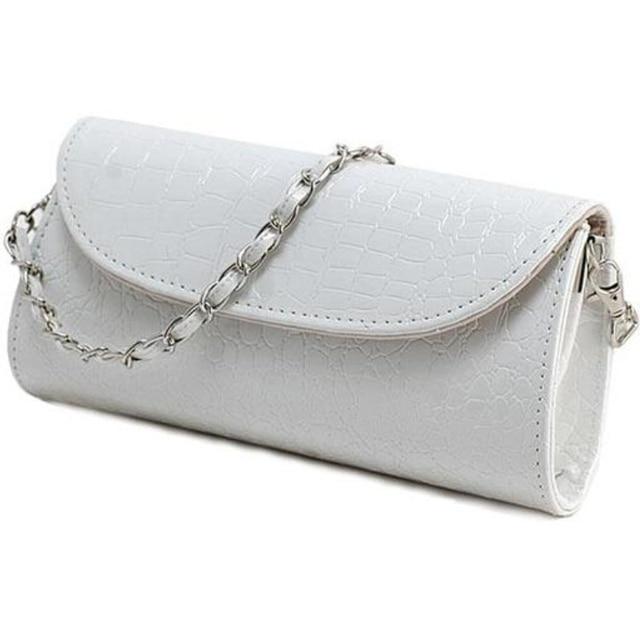 New Crocodile Leather Clutch Evening Bag Chain Banquet Bag Handbag Diagonal White Women Crossbody Bags Shoulder Bag