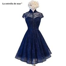 Vestidos de coctel2020 new high neck lace beaded short sleev