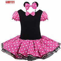 Baby Girl Dresses For Girls Minnie Mouse Party Fancy Costume Cosplay Girl Ballet Tutu Dress+Ear Headband Girl Polka Dot Clothing