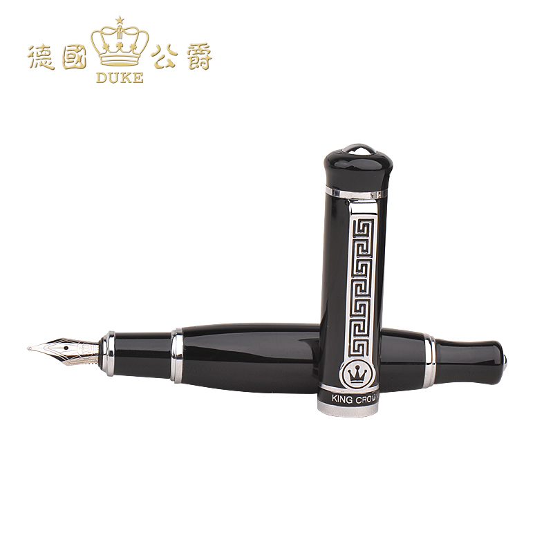 Luxury Iraurita Nib Fountain Pen with Gift Case DUKE 558 Pure Black Sliver Clip Ink Pens Office School Business Gift Supplies most popular duke confucius bent nib art fountain pen iraurita 1 2mm calligraphy pen high end business gift pens with a pen case