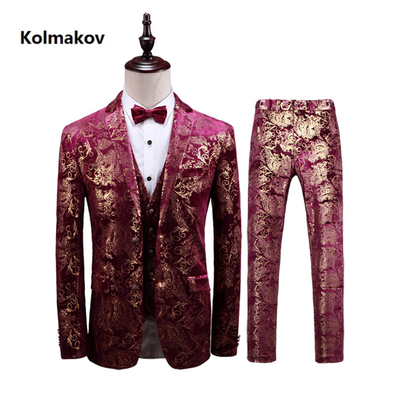 (Jacket+Pant+Vest) Men's Print Suit 2019 Wedding Suits Classic business Slim Fit mens suits with pants Embroidery Men's suits