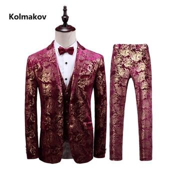 (Jacket+Pant+Vest) Men's Print Suit 2019 Wedding Suits Classic business Slim Fit mens suits with pants Embroidery Men's suits