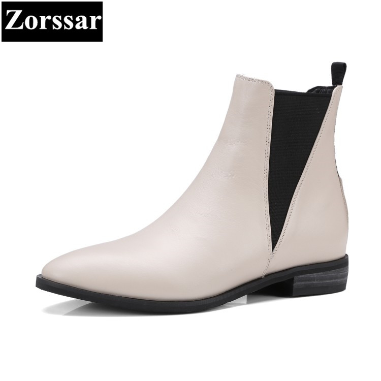 {Zorssar} 2018 NEW Fashion Genuine leather Casual flat heel ankle Boots women Chelsea Short boots autumn winter women shoes new fashion silver tone chain trim flat sandals flat heel black white metal leather ankle sandals for women free shipping