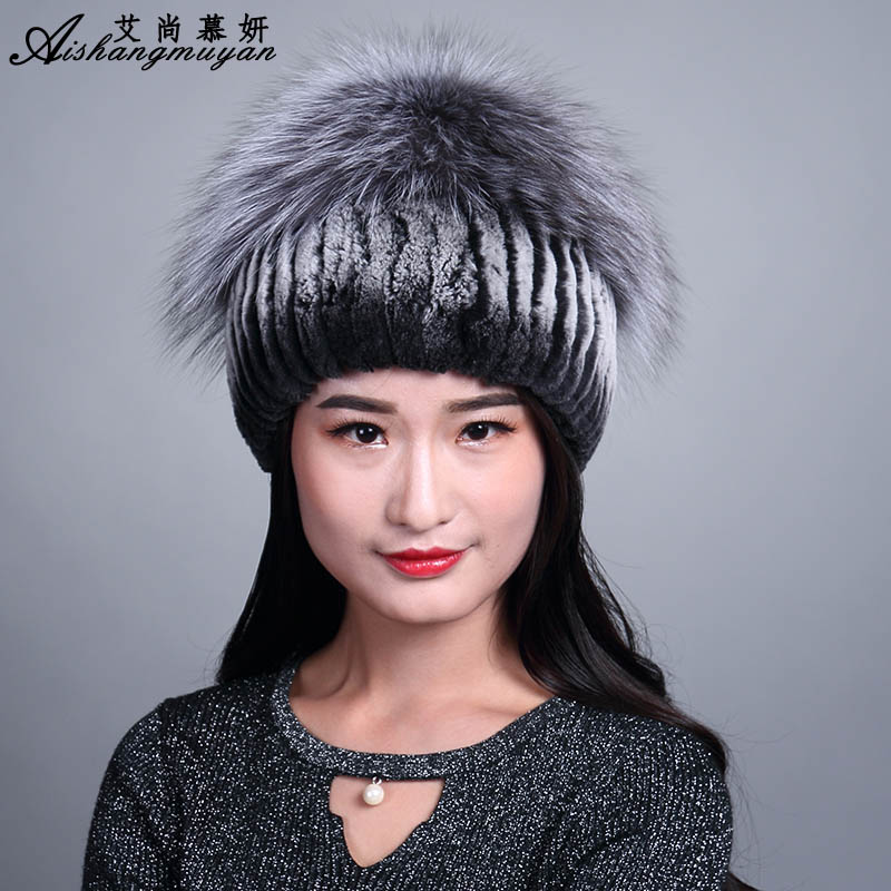 Winter Hats For Women 2017 Fashion Skullies Beanies Warm Female Knitting Caps Vertical Weaving With Fox Fur Top Rabbit Fur Hat skullies