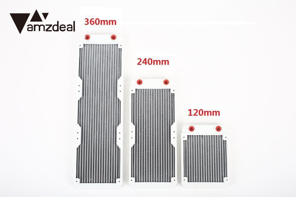 AMZDEAL 120/240360mm Auminium Heat Sink Water Cooling Radiator Universal Practical G4/1 10/18 Pipes for Computer Case CPU GPU copper water cooling block for gpu cpu radiator liquid heatsink heat sink cooled