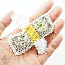 Летающие деньги(Размер: 7,8x7,9 см) нашивки тканевые нашивки Вышитые Симпатичные значки хиппи железо на мультфильм нашивки для наклейка на одежду