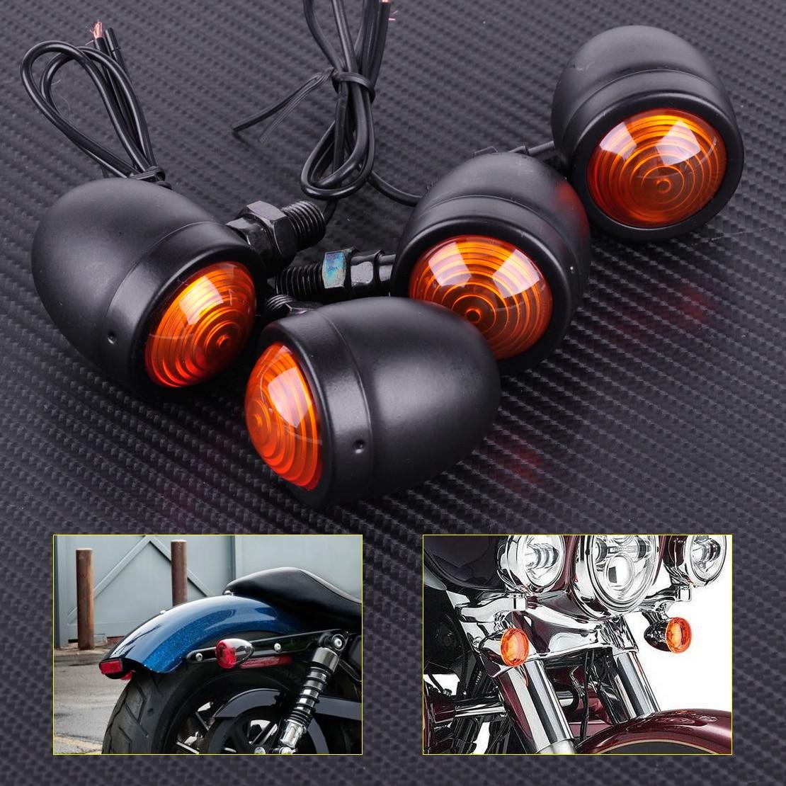 CITALL Moto 4 pcs 12 V Noir Bullet Turn Signal Indicateur Lumières Lampe Fit pour Harley Honda Bobber Chopper Yamaha Suzuki ATV