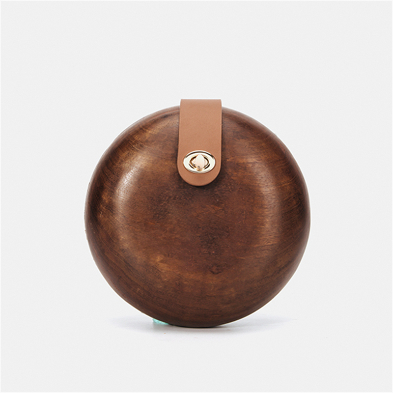 New Brand Fashion Wallet Women Lovely Bag Vintage Round Party Evening Bag Shoulder Bag Elegant Handbag Solid Wood Casual Clutch(China)