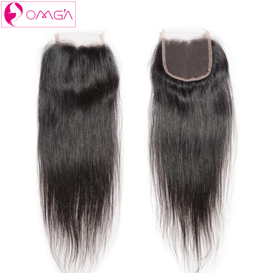 OMGA Peruvian Virgin font b Hair b font Straight Weave Lace Closure Free Middle Three Part