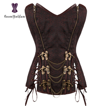 Wholesale Royal style zip up brown steampunk overbust corset