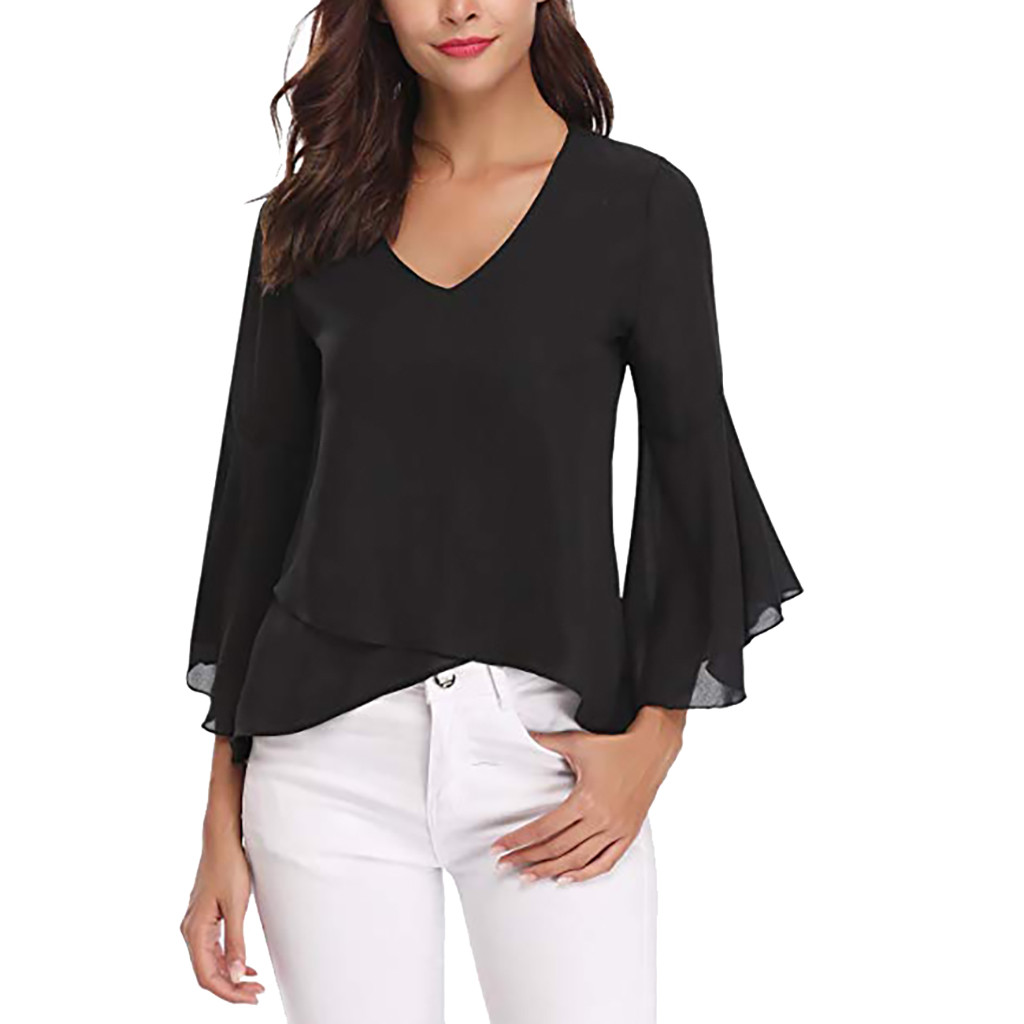 Women Summer V-Neck   Blouses   Bell Sleeve Solid Chiffon Tunic Tops Black   Blouse     Shirt   blusas mujer de moda Women's Clothing