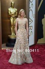 A linha de Alta Collar Pesado Beads Ver Através Cate Blanchett oscar Awards Celebrity Dress(China (Mainland))