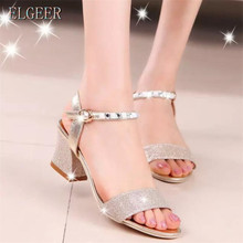 2017 new sandals female thick with rhinestones open toe shoes word buckle