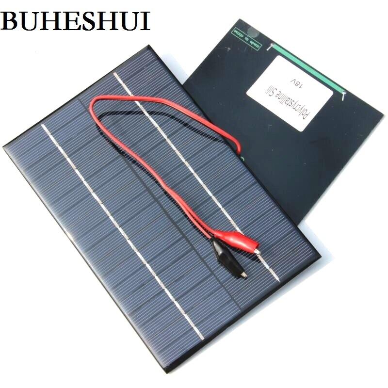 BUHESHUI 4.2W 18V Small Solar Panel Polycrystalline Solar Cells Module+Clip For 12V Battery Power System Education 200*130MM