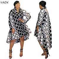 VAZN 2018 autumn hot print straight mini dress women v-neck full sleeve irregular dress Classic black and white dress ML7142