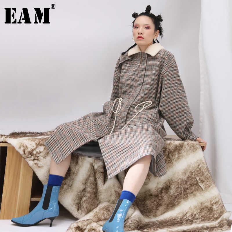 [EAM] 2019 Neue Auutmn Pelz Kragen Hülse Grau Plaid Print Lose Kordelzug Große Größe Lange Woolen Coatwomen Mode JK068