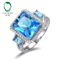 Caimao 8.55CT Blue Topaz 14ct White Gold Natural Diamond Ring Wholesaler Jewelry