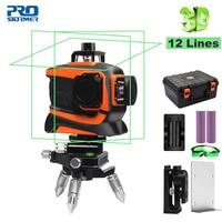 Prostormer 12 линий 3D лазерный уровень зеленый 360 самонивелирующийся Профессиональный Nivel лазер 360 граус выравниватель Горизонтальный Вертикальн