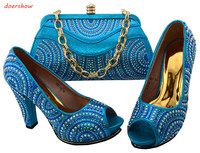 Nice Design SKY BLUE Italian Shoes With Matching Bags Latest Rhinestone African Women Shoes And Bags