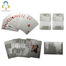 One Deck Silver Foil Poker Euros Style Plastic Poker Playing Cards Waterproof Cards Good Price Gambling Board game GYH(China)