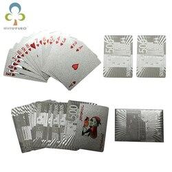 Um Deck de Folha de Prata Estilo de Euros De Poker De Plástico Jogando Cartas de Poker Cartões de Bom Preço Placa de Jogo À Prova D' Água jogo GYH