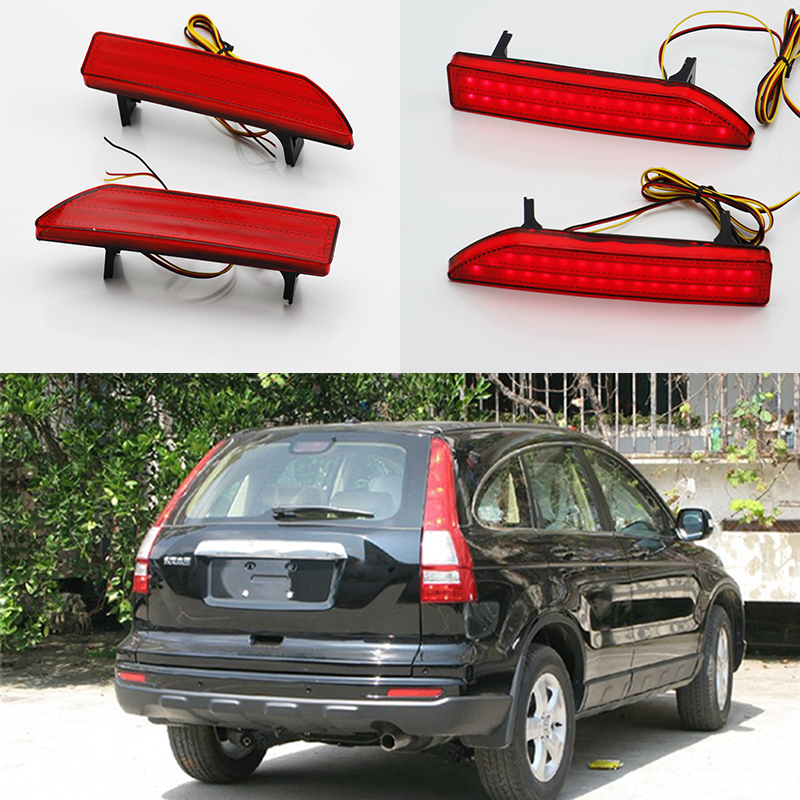 2 Pcs Tail Rear Bumper Light LED Reflector Stop Brake Fog Lamp For Honda CRV 2007 2008 2009