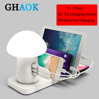 Multiple USB Phone Charger Mushroom Night Lamp Charging Station Dock QC 3.0 Quick Charger for Mobile Phone and Tablet