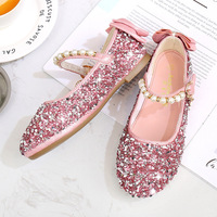 Kid Leather Shoes Princess for Girls Flower Glitter Sequin Baby Mary Jane Flats Butterfly Knot Chaussure Enfant Fille Mariage