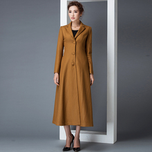2016 autumn and winter new fashion S-4XL plus size female windbreaker solid color single breasted overcoat long woolen jackets